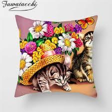 <b>Fuwatacchi</b> Home Decoration Pillowcase Contrast Flower Print ...