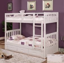 white furniture cool bunk beds: this  cool furniture white bunk bed with storage and ladder combine wood material bunk bed also white fur rug on laminated wood flooring plus purple wall painted