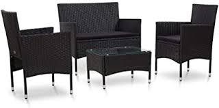 WWZH 4 Piece Garden Lounge Set with Cushions ... - Amazon.com