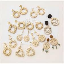<b>Korean Style Geometric</b> Earrings Women Vine Rattan Mesh Wood ...