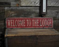 cabin decor lodge sled: lodge sign welcome to the lodge sign lodge decor cabin sign cabin decor ski lodge decor rustic hand made vintage wooden ens