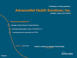 advancenet health solutions home enhanced surescripts certifications