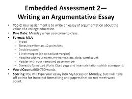 embedded assessment — writing an argumentative essay topic  your    embedded assessment — writing an argumentative essay topic  your assignment is to write an