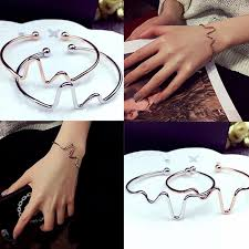 Hot! <b>1Pcs</b> Design Pure <b>Copper</b> Electrocardiogram Open Bracelet ...