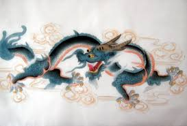 feng shui chinese blue horned dragon silk painting chinese feng shui dragon