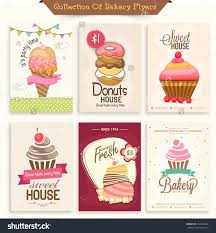 collection bakery flyers menu cards decorated stock vector collection of bakery flyers or menu cards decorated sweet ice cream donuts and