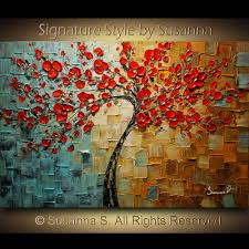 Texture Paints For Living Room Original Abstract Contemporary Red Cherry Blossom Tree Painting