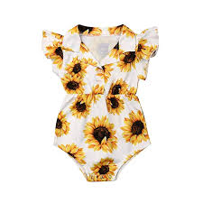 JYJM Cotton and Linen Girls Sleeveless Ruffled <b>Sunflower Print</b> ...