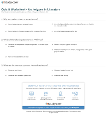 quiz worksheet archetypes in literature study com print archetype in literature definition examples worksheet
