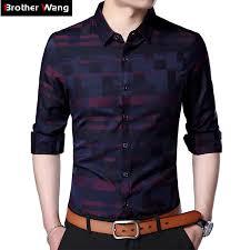 Brand Clothes Men's Plaid Shirt <b>2019 Spring New</b> Fashion <b>Casual</b> ...