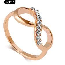 ‴<b>Luxury</b> 8 Infinity <b>Zircon</b> Inlaid Ring Wedding Evening Party Finger ...