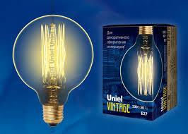 Ретро <b>лампа IL</b>-<b>V</b>-<b>G95</b>-<b>60</b>/<b>GOLDEN</b>/<b>E27</b> VW01 <b>Uniel</b> UL-00000479 ...