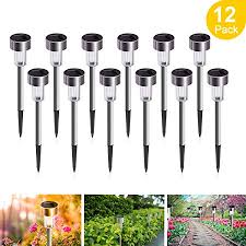 Solar Lights <b>Outdoor</b>, 12Pack Solar Garden Lights <b>Stainless</b> Steel