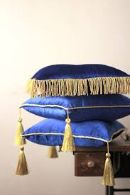 Royal blue velvet 14 with tassel and piping stand pillow by FULYAK ...