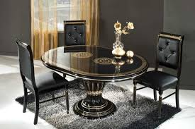 Round Table Dining Room Sets Round Black Varnished Wooden Dining Table With Three Pedestal Legs