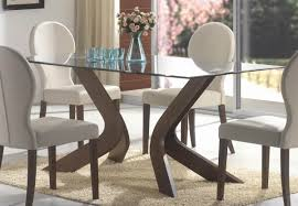 Fun Dining Room Chairs Square Brown Painted Oak Dining Table With Rectangle Glass Top