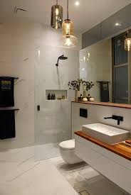 image bath glass shelf: white marble wall tiles in bathroom wood shelf and wood bench in bathroom glass