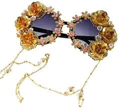 Colygamala Women's Metal Flower <b>Vintage</b> Chains Eyewear Sun ...