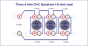 subwoofer wiring diagrams three ohm dual voice coil dvc speakers voice coils wired in parallel speakers wired in series recommended amplifier stable at 4 2 or 1 ohm mono