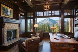 an office with an amazing view amazing rustic home office