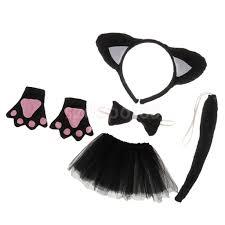 <b>Christmas</b> Girls Kids Birthday Black <b>Cat Costume</b> Set Ear Headband ...