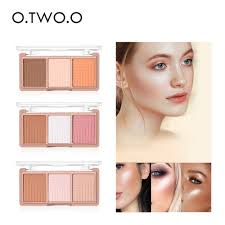 O.TWO.O 4colors Powder Blush Brush Palette 3D Face Contour ...