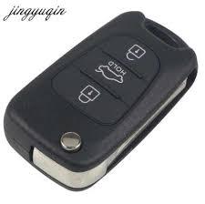jingyuqin 3 buttons flip folding remote car key case shell fob for hyundai i30 ix35 for kia k2 k5 blank cover styling