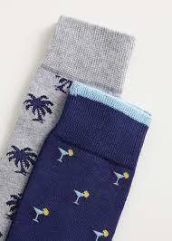 2 pack jacquard motif socks - Man | Mango Man Indonesia