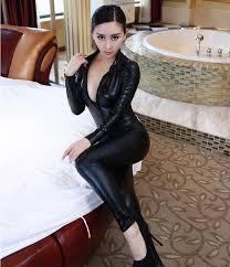<b>2018 Hot Sexy</b> Women Body Suits Fetish Leather Dress <b>Sexy Black</b>