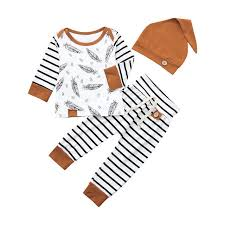 CHAMSGEND 2019 <b>Summer</b> Newborn <b>Baby Boy Girl</b> Feather T shirt ...