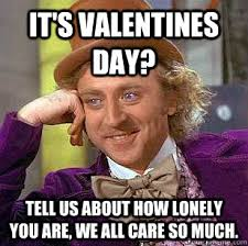 It's Valentines day? Tell us about how lonely you are, we all care ... via Relatably.com