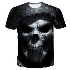 <b>2019 new</b> skull <b>men's</b> casual <b>t</b> shirt Summer 3D printed round neck ...
