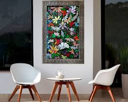 mosaic wall decor: exterior mosaic wall art stained glass wall decor floral garden indoor outdoor patio art wall hanging made to order