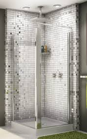bathroom ideas corner shower design: modern corner shower stall with green glass door design eborhan