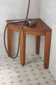 image quarter bamboo bathroom stool teak shower bench from the corner collection bamboo shower stool