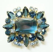 Kramer <b>Vintage Designer</b> Sapphire-<b>Blue Rhinestone Crystal</b> Brooch ...