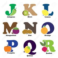 a vector illustration of fruit and vegetables in alphabetical a vector illustration of fruit and vegetables in alphabetical order from j to r stock vector