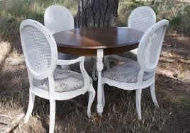 French Provincial Dining Room Sets Distressed Dining Table With Leaf Amp 4 Ornate Chairs White French
