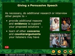 Persuasive speech writing assignment