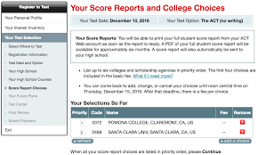 what your act score report looks like to colleges compass note that when you add a score report act s registration site asks you to set the priority for each school the level of priority gets reported as choice
