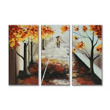 "Hand painted (""<b>Autumn</b> leaf"") <b>3</b>-<b>piece</b> gallery wrapped canvas art <b>set</b> ..."