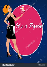 party invitation template sexy cocktail waitress stock vector party invitation template a sexy cocktail waitress holding a tray drinks vector