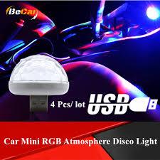 <b>4 Pcs Mini</b> Diamand Design Car <b>USB LED</b> Magic Disco Decorative ...