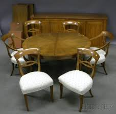 walnut cherry dining: eight piece baker furniture neoclassical style cherry and walnut dining set