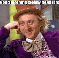Meme Maker - Good morning sleepy head !! have a great day Sarah ... via Relatably.com