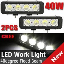 "<b>2PCS</b> 8"" <b>40W</b> CREE 4-LED*(<b>10W</b>) Work Light Bar Off-Road SUV ..."