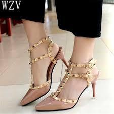 <b>2019 Sexy</b> Rivet <b>High Heels Female</b> Leather Pointed Toe Buckle ...