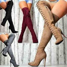 <b>Autumn and Winter High</b> Heel Long Boots Solid Color Suede ...
