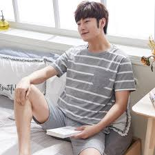 <b>2019</b> Summer <b>Casual Striped</b> Cotton Pajama Sets for Men <b>Short</b>