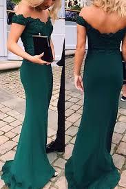 Green <b>Off</b>-<b>shoulder Floor</b>-length Mermaid Party Dress, Long Prom ...